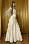 DEERA Wavy Jacquard Lehenga Skirt in White Metallic - Side View - Harleen Kaur - Ethically Made Womenswear
