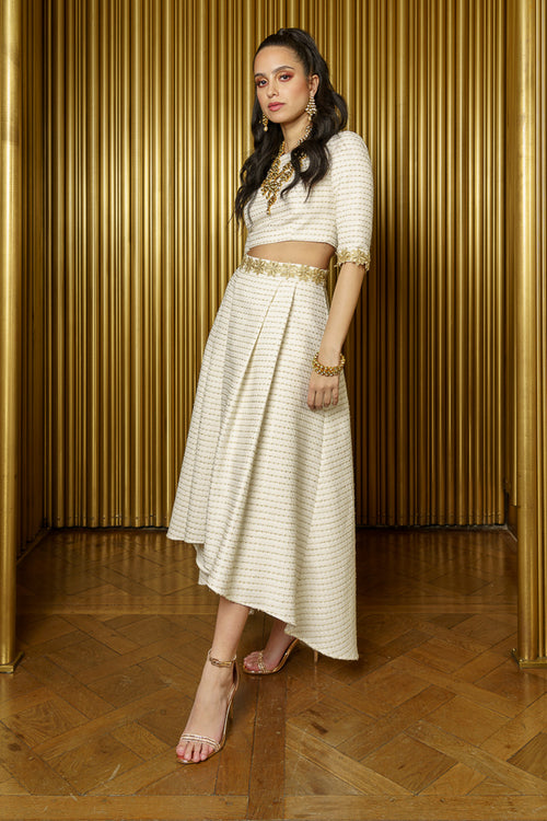 KINA Tweed Pleated Hi-Lo Skirt - Side View - Harleen Kaur - Modern Indian Womenswear