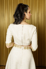AYAVA Tweed 3/4 Sleeve Top - Back View - Harleen Kaur Modern Indowestern Womenswear