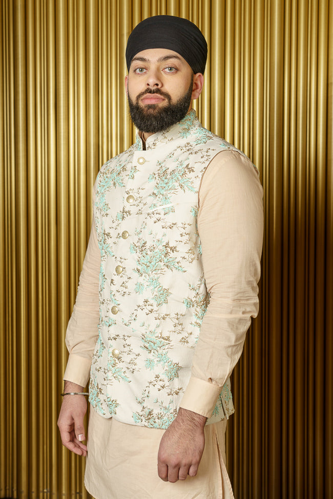 NIK Mint Floral Vines Bandi Vest - Side View - Harleen Kaur - Indian Menswear