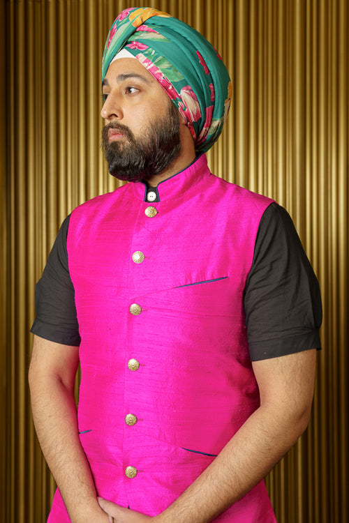 YURI Floral Cotton Turban in Green - Side View - Harleen Kaur - South Asian Menswear