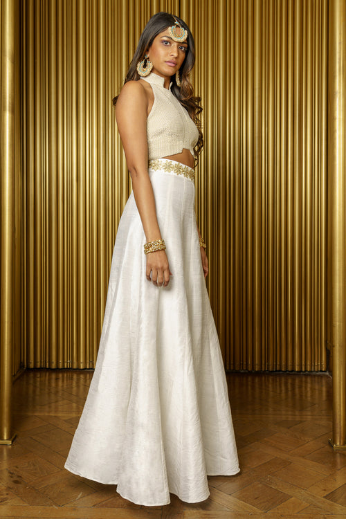 DITA White Silk Skirt with Gold Trim - Side View - Harleen Kaur - Indian Womenswear