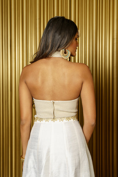 SAMRATA Metallic Crop Top - Back View - Harleen Kaur - Indowestern Womenswear