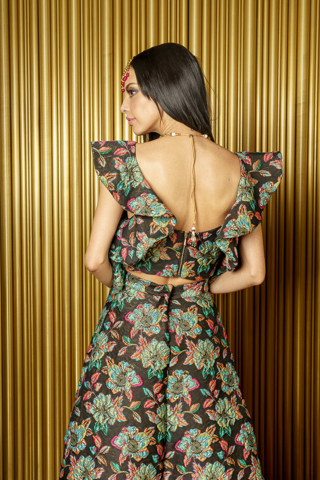 KAIA Floral Jacquard Crop Top with Ruffle Details - Back View - Harleen Kaur Womenswear