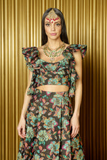 KAIA Floral Jacquard Crop Top with Ruffle Details - Front View - Harleen Kaur - South Asian Womenswear