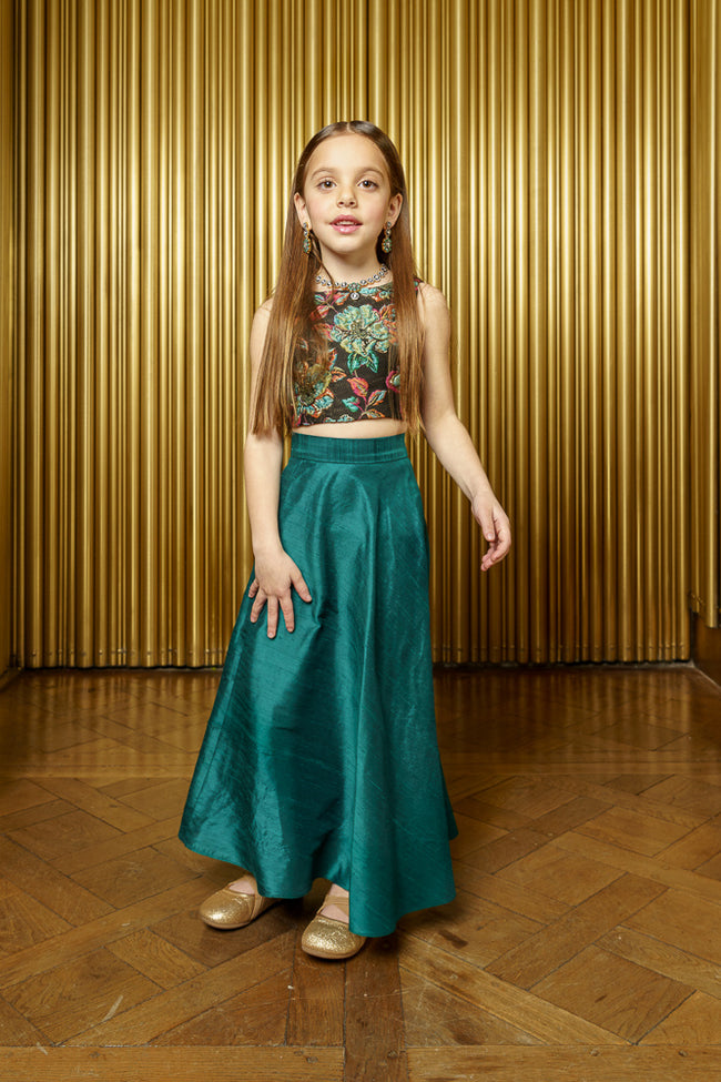 Kids Raw Silk Green Lehenga Skirt - Front View - Harleen Kaur - Kidswear