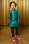 SURAT Silk and Plaid Kids Kurta - Front View - Harleen Kaur - Indian Kidswear