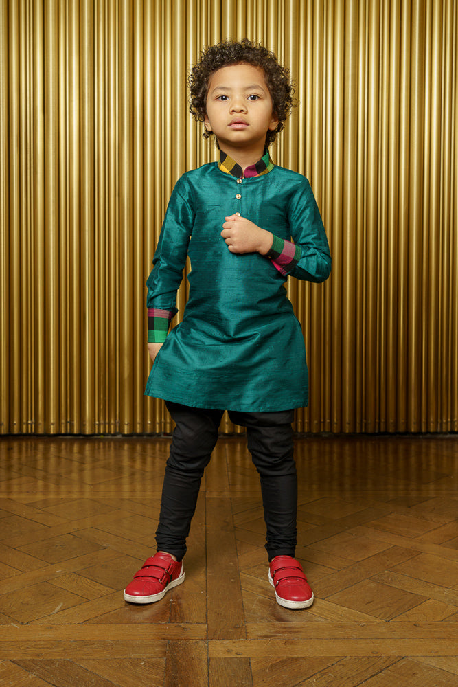 SURAT Solid Green Silk and Plaid Kids Colorblock Kurta - Front View - Harleen Kaur - Indian Childrenswear