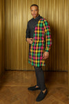 ADI Pink, Yellow, and Green Plaid and Black Kurta - Side View - Harleen Kaur - Ethically Made Menswear
