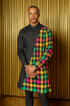 ADI Plaid and Black Colorblock Kurta - Front View - Harleen Kaur - South Asian Menswear