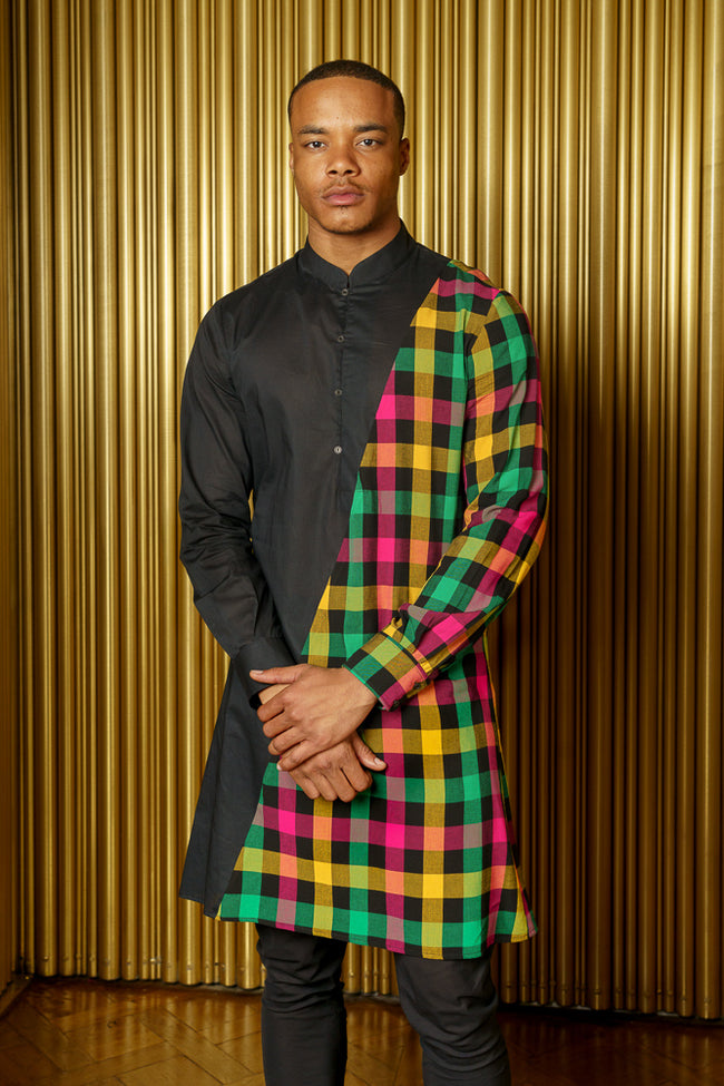 ADI Plaid and Black Colorblock Kurta - Front View - Harleen Kaur Menswear