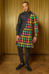 ADI Plaid Mens Kurta - Front View - Harleen Kaur - Indian Menswear