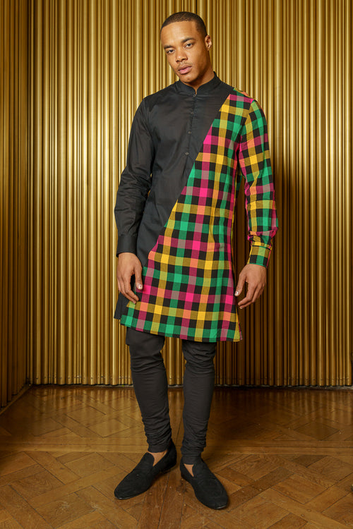 ADI Plaid Mens Kurta - Front View - Harleen Kaur Indian Menswear