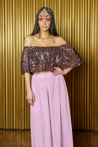 SINEMA Off-the-Shoulder Strapless Flowy Crop Top in Striped Sequins - Front View - Harleen Kaur Indian Womenswear