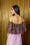 SINEMA Off-the-Shoulder Strapless Flowy Crop Top in Striped Sequins - Back View - Harleen Kaur Indian Womenswear