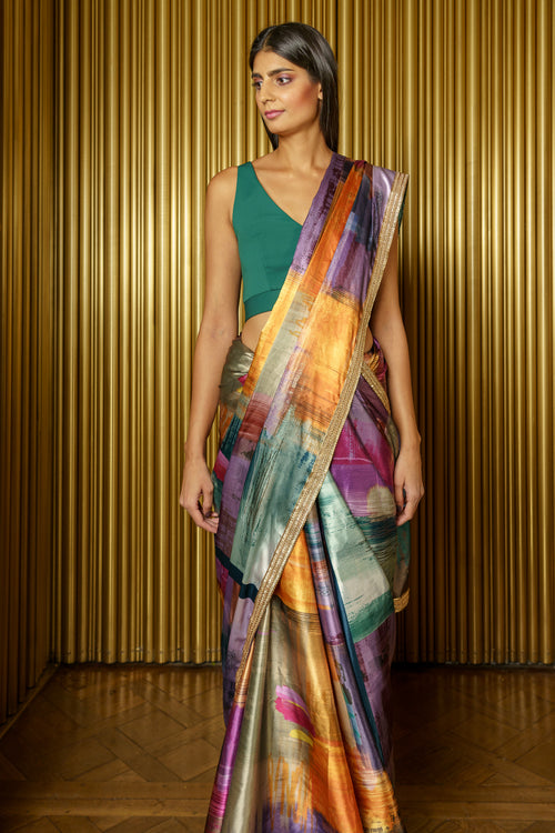 SERENA Multicolor Satin Sari - Front View - Harleen Kaur Indian Womenswear