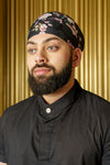 KAZ Black Floral Blossom Turban - Front View - Harleen Kaur - Modern South Asian Menswear