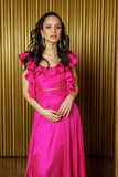KAIA Fuchsia Sleeveless Silk Crop Top with Ruffle Details - Front View - Harleen Kaur - South Asian Womenswear