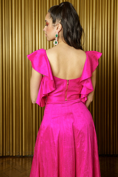 KAIA Fuchsia Sleeveless Silk Crop Top with Ruffle Details - Back View - Harleen Kaur - Modern Indian Womenswear