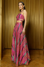 BARKHA One Shoulder Striped Sequin Crop Top in Pink and Green with cutout detail - Side View - Harleen Kaur South Asian Womenswear
