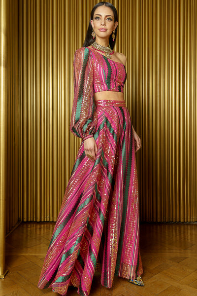 BARKHA One Shoulder Striped Sequin Crop Top in Pink and Green - Side View - Harleen Kaur Indian Womenswear