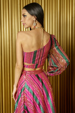 BARKHA One Shoulder Striped Sequin Crop Top - Back View - Harleen Kaur - Modern Indian Womenswear