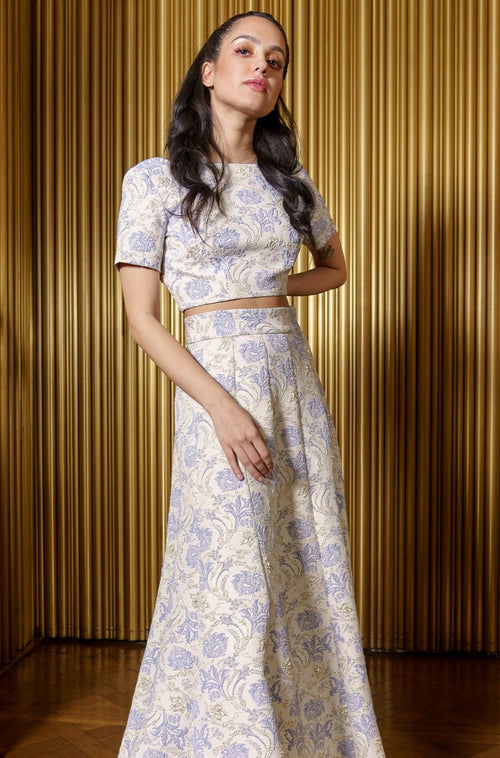 REENA Periwinkle Floral Top - Front View - Harleen Kaur - Modern South Asian Womenswear