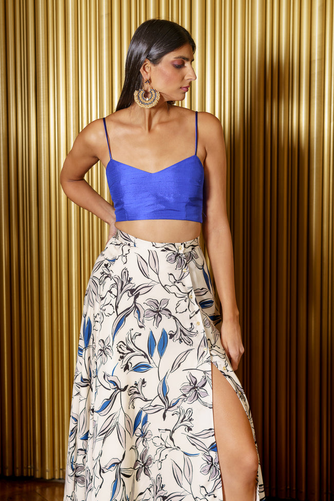 HELENA Adjustable Slit Lehenga Skirt in Navy Grey Floral - Front View - Harleen Kaur - Ethically Made Womenswear