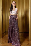 SONA High Rise Wide Leg Pants in Striped Sequins - Harleen Kaur - Indian Womenswear