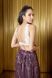 CHRISTINE Floral Vines Jacquard Top in Blush-Gold - Back View - Harleen Kaur Indian Womenswear
