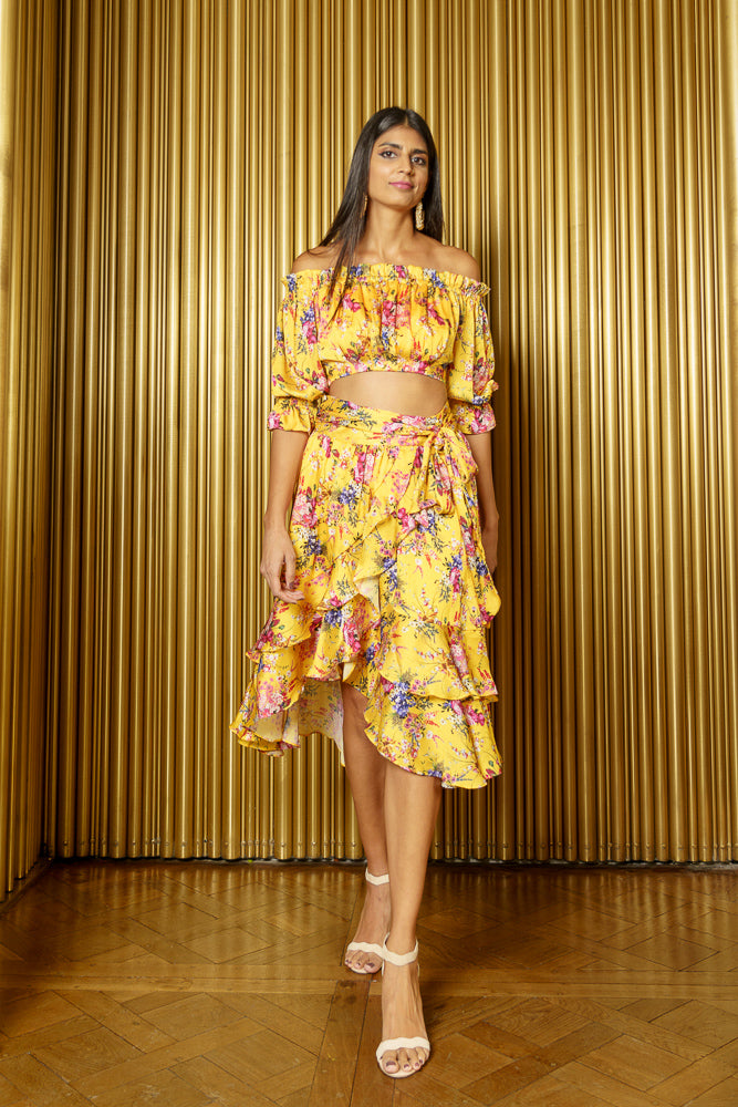 CARLEIGH Yellow Floral Ruffle Hi Lo Skirt - Front View - Harleen Kaur - Indian Womenswear