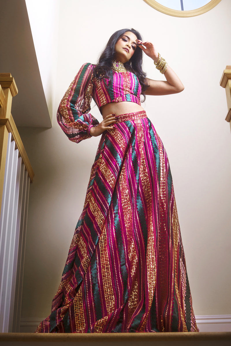 MAYRA Striped Sequin Lehenga Skirt