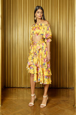 EMMA Floral Off Shoulder Crop Top Yellow Floral - Front View - Harleen Kaur - Ecoconscious Womenswear