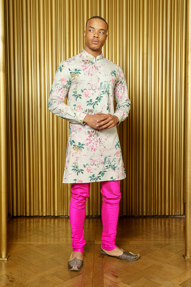 SURIN Pistachio Floral Blossom Kurta - Front View - Harleen Kaur - South Asian Menswear