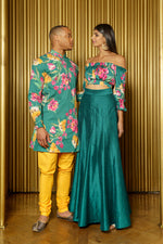 LUCKY Green Floral Cotton Kurta - Front View - Harleen Kaur - Ecoconscious Menswear