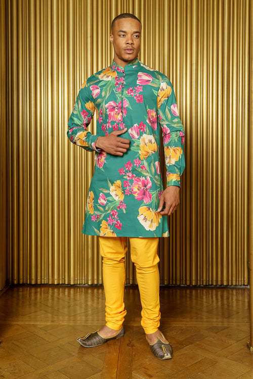 LUCKY Green Floral Cotton Kurta - Front View - Harleen Kaur Menswear