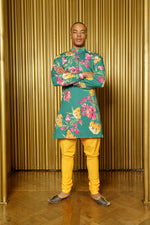 LUCKY Green Floral Cotton Kurta and Yellow Pajama Pants - Front View - Harleen Kaur - Ethically Made Menswear
