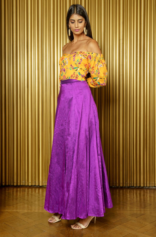 ZAHIRA Saffron Flora Off the Shoulder Top - Front View - Harleen Kaur - Indian Womenswear