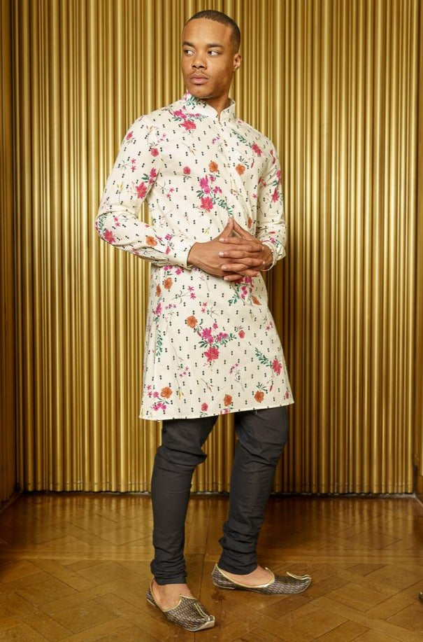 KEY Double Diamond Floral Kurta - Front View - Harleen Kaur - Modern Indian Menswear