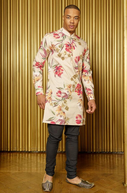 LUCKY Cream Floral Kurta - Front View - Harleen Kaur - Indian Menswear