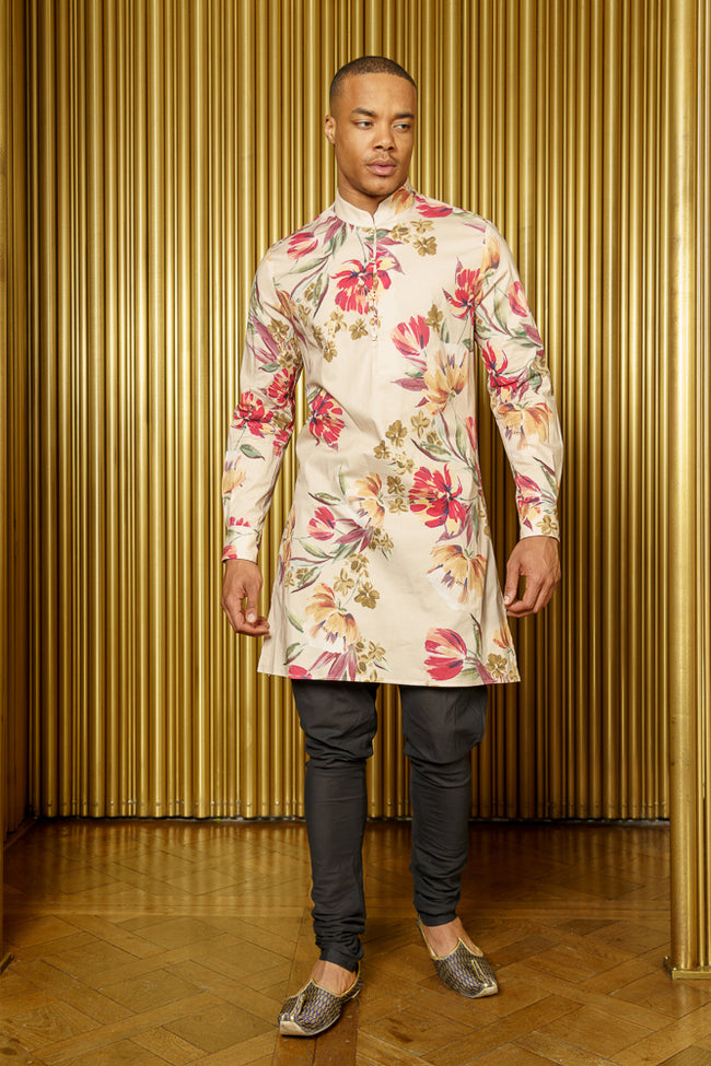 LUCKY Cream Floral Kurta with Mandarin Collar - Front View - Harleen Kaur - South Asian Menswear