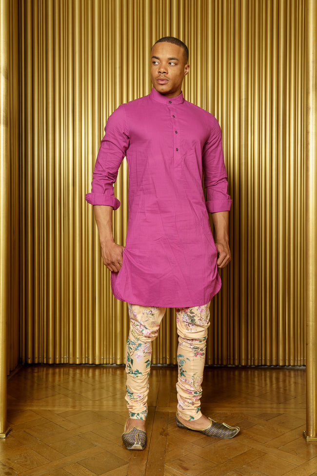 JAY Floral Print Cotton Pajama Pants in Peach Floral - Front View - Harleen Kaur Indian Menswear