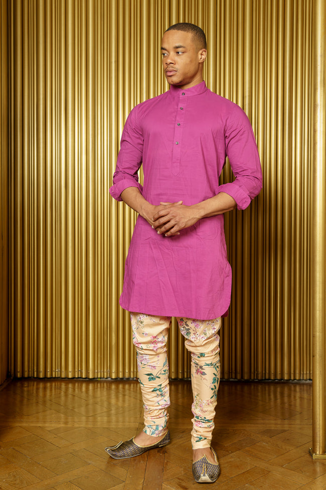 Raaya Long Sleeve Cotton Kurta in Berry - Front View - Harleen Kaur Indian Menswear