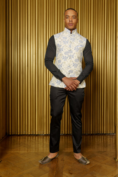 NIK Metallic Floral Bandi Vest with Mandarin Collar - Front View - Harleen Kaur - South Asian Menswear