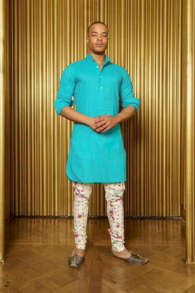 Raaya Long Sleeve Cotton Kurta in Teal - Front View - Harleen Kaur - Indian Menswear