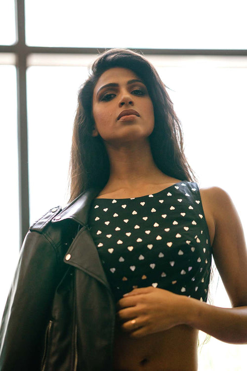 Geena Singh in ARYA Black Cotton Crop Top with Silver Polka-Hearts - Front View | HARLEEN KAUR