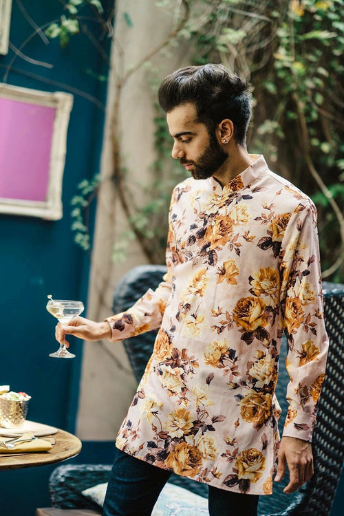 MANNY Antique Floral Kurta Shirt - Front View - Harleen Kaur - Indian Menswear