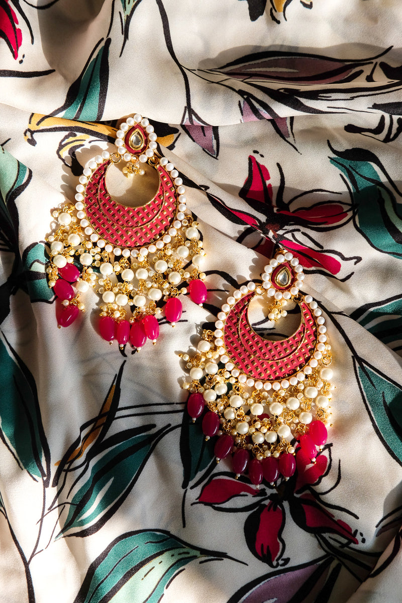 Chaandbali Meenakari Indian Earrings
