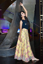 Geena Singh in DIANA Embroidered Lehenga Skirt in Gold - Side View | HARLEEN KAUR