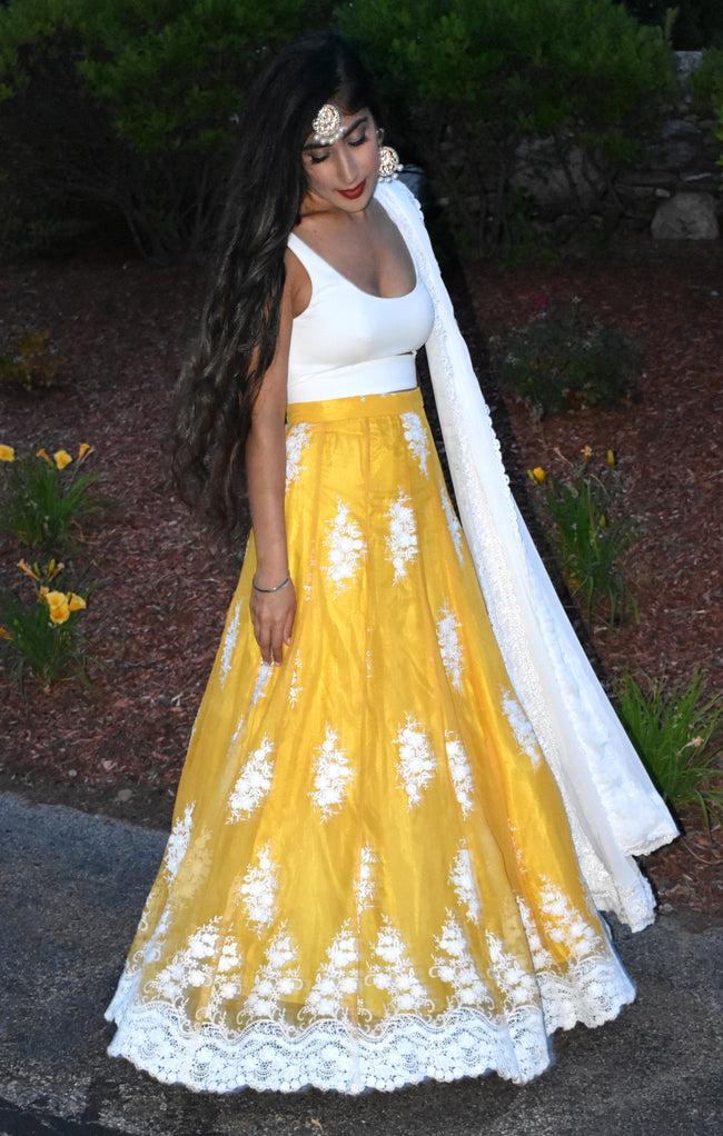 DEE Chiffon Lehenga Skirt in Vibrant Yellow with White Embroidery - Front View - Harleen Kaur - Indian Womenswear